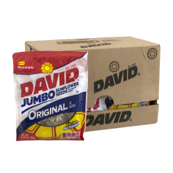 David Jumbo Sunflower Seed Pouches, Original, 5.25 Oz, Box Of 12