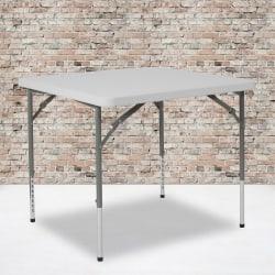 "Flash Furniture Square Height-Adjustable Plastic Folding Table, 29""H x 33-1/2""W x 33-1/2""D, Granite White"