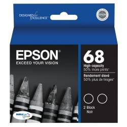 Epson® 68, (T068120-D2) DuraBrite® High-Capacity Black Ink Cartridges, Pack Of 2