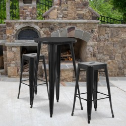 "Flash Furniture Commercial-Grade Round Metal Indoor/Outdoor Bar Table Set With 2 Square-Seat Backless Stools, 41""H x 24""W x 24""D, Black"