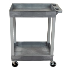 "Luxor 2-Shelf Plastic Utility Cart, 34-1/4""H x 24""W x 18""D, Gray"