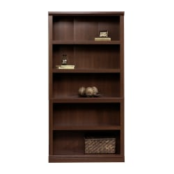 "Sauder® Select 69 13/16"" 5 Shelf Transitional Bookcase, Cherry/Dark Finish, Standard Delivery"