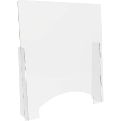 """Lorell® Countertop Freestanding Barrier With Pass-Through Window, 36"""" x 31-13/16"""", Clear"""