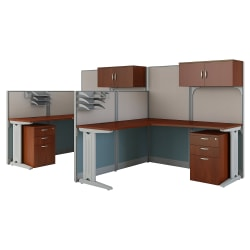 Bush Business Furniture Office in an Hour 2 Person L Shaped Cubicle Workstations, Hansen Cherry, Premium Installation