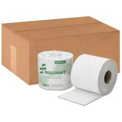 SKILCRAFT® 1-Ply Individually Wrapped Toilet Paper, 1000 Sheets Per Roll, 100% Recycled, Case Of 96 Rolls (AbilityOne 8540-01-630-8728)