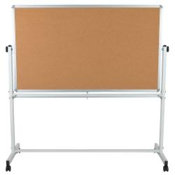 "Flash Furniture Reversible Cork Bulletin/Magnetic Dry-Erase Whiteboard, 62 1/2"" x 62 1/4"", Silver Aluminum Frame"
