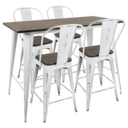 Lumisource Oregon Industrial Counter Table With 4 Counter Stools, High-Back Stools, Vintage White/Espresso