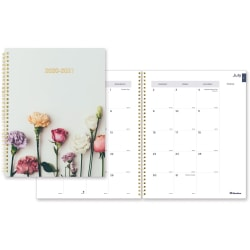 "Rediform Academic Monthly Planner - Academic - Monthly - 1.2 Year - July 2020 till August 2021 - 1 Month Double Page Layout - Twin Wire - Desk - Gold, Floral - Poly, Paper - 11"" Height x 8.5"" Width"