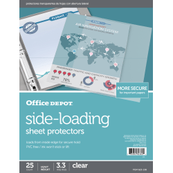 "Office Depot® Brand Side-Loading Sheet Protectors, 8-1/2"" x 11"", Clear, Pack Of 25"