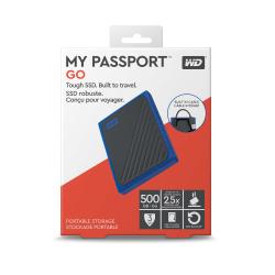 Western Digital® My Passport Go 500GB Portable External Solid State Drive, USB 3.0, WDBMCG5000ABT-WESN, Black/Blue
