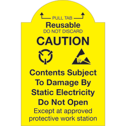 "Tape Logic® Preprinted Shipping Labels, DL1386, Pull Tab Reusable ? Do Not Discard, Rectangle, 2"" x 3"", Yellow/Black, Roll Of 500"