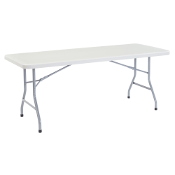 """National Public Seating Blow-Molded Folding Table, Rectangular, 72""""W x 30""""D, Light Gray/Gray"""