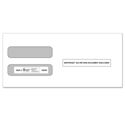 ComplyRight Double-Window Envelopes For W-2 (5210/5211) Tax Forms, Self-Seal, White, Pack Of 100 Envelopes