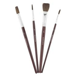 Scholastic® Artist Brush Set, Horsehair Bristles, Brown, Set Of 4 Brushes