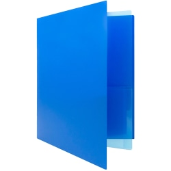 "JAM Paper® Mini Heavy-Duty 2-Pocket Plastic Folders, 4-1/4"" x 9-1/8"", Blue, Pack Of 6 Folders"