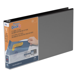 """Stride® QuickFit® Overlay 3-Ring Binder, 1"""" Round Rings, 66% Recycled, Black"""