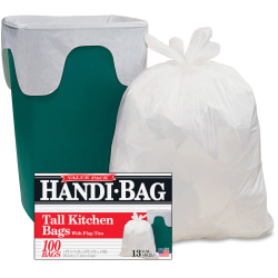 """Webster Handi-Bag Flap Tie Tall Kitchen Bags - Small Size - 13 gal - 23.75"""" Width x 28"""" Length - 0.60 mil (15 Micron) Thickness - White - Hexene Resin - 100/Box - Home, Office"""