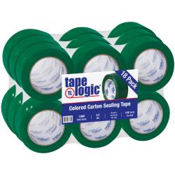 """Tape Logic® Carton-Sealing Tape, 3"""" Core, 2"""" x 110 Yd, Green, Pack Of 18"""