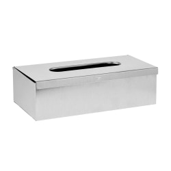 """Alpine Facial Tissue Box Cover, 3""""H x 10""""W x 5""""D, Brushed Stainless"""