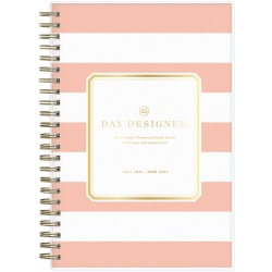 """Blue Sky™ Day Designer Daily/Monthly Planner, 8"""" x 5"""", Rugby Stripe Apricot, July 2021 To June 2022, 127382"""