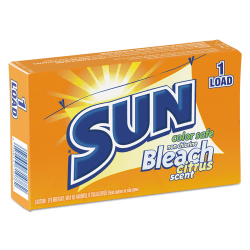 SUN® Color-Safe Powder Bleach Vending Packs, Unscented, 1.8 Oz, 1-Load Boxes, Carton Of 100 Boxes