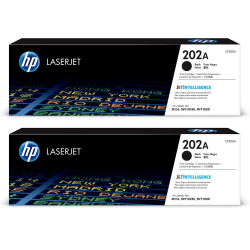 HP LaserJet 202A Black Toner Cartridges (CF500A), Pack Of 2 Cartridges