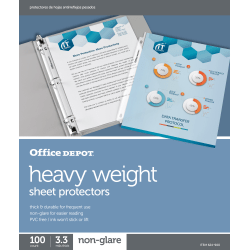 """Office Depot® Brand Heavyweight Sheet Protectors, 8-1/2"""" x 11"""", Clear, Non-Glare, Pack Of 100"""