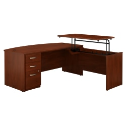 """Bush Business Furniture Components Elite 72""""W 3 Position Sit to Stand Bow Front L Shaped Desk with 3 Drawer File Cabinet, Hansen Cherry, Standard Delivery"""