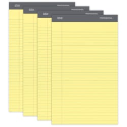 """Office Depot® Brand Professional Legal Pad, 8 1/2"""" x 14"""", Canary, Legal Ruled, 50 Sheets, 4 Pads/Pack"""