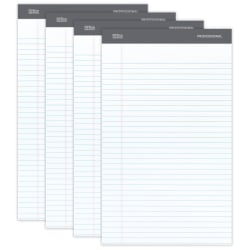 """Office Depot® Brand Professional Legal Pad, 8 1/2"""" x 14"""", White, Legal Ruled, 50 Sheets, 4 Pads/Pack"""