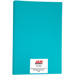 """JAM Paper® Cover Card Stock, 11"""" x 17"""", 65 Lb, 30% Recycled, Sea Blue, Pack Of 50 Sheets"""