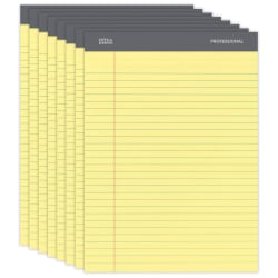 """Office Depot® Brand Professional Legal Pad, 8 1/2"""" x 11 3/4"""", Legal Ruled, 50 Sheets Per Pad, Canary, Pack Of 8 Pads"""