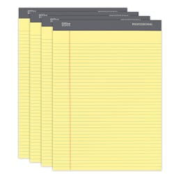"""Office Depot® Brand Professional Legal Pad, 8 1/2"""" x 11 3/4"""", Narrow Ruled, 200 Pages (100 Sheets), Canary, Pack Of 4"""