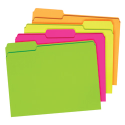 """Pendaflex® Glow File Folders, 1/3 Cut, 8 1/2"""" x 11"""", Letter Size, Assorted Colors, Pack Of 24"""