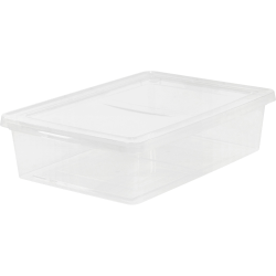 """IRIS 28-quart Storage Box - External Dimensions: 24"""" Width x 16.3"""" Depth x 6"""" Height - 7 gal - Stackable - Plastic - Clear - For Clothes, Shoes - 1 Each"""