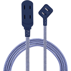 Cordinate 3-Outlet Polarized Extension Cord, 8', Navy, 50715