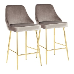 LumiSource Marcel Contemporary Glam Counter Stools, Silver/Gold, Set Of 2 Stools