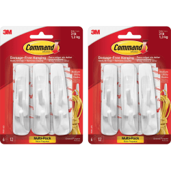 Command Strip Adhesive Hooks - 3 lb (1.36 kg) Capacity - for Paint, Wood, Tile - White - 12 / Bag