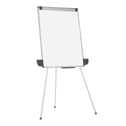 """MasterVision® Tabletop/Floor Tripod Non-Magnetic Dry-Erase Whiteboard Presentation Easel, 29"""" x 41"""", Aluminum Frame With Silver Finish"""