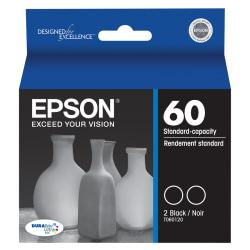 Epson® 60, (T060120-D2) DuraBrite® Ultra Black Ink Cartridges, Pack Of 2