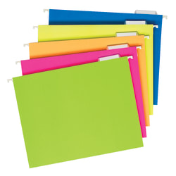 Pendaflex® Glow Hanging File Folders, 1/5 Cut, Letter Size, Assorted Colors, Box Of 25