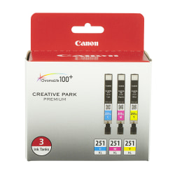 Canon 251 XL High-Yield Cyan/Magenta/Yellow Ink Cartridges, Pack Of 3