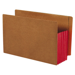 "Smead® Redrope Extra-Wide End-Tab File Pockets, Legal Size, 5 1/4"" Expansion, 30% Recycled, Red Gusset, Box Of 10"