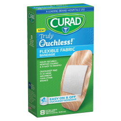 CURAD® Truly Ouchless Self-Adhesive Bandages, XL, Tan, Box Of 8