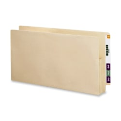 """Smead® Recycled End-Tab File Pockets, Letter Size, 3 1/2"""" Expansion, Manila, Box Of 25"""