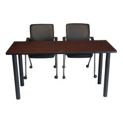 "Boss 3-Piece 36""W Training Table And Chairs Set, Cherry/Black"
