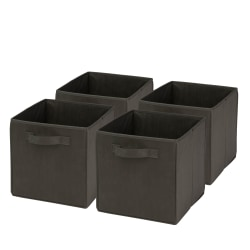 """Honey-Can-Do Non-Woven Foldable Cubes, 11 7/16""""H x 10 5/8""""W x 10 5/8""""D, Black, Pack Of 4"""