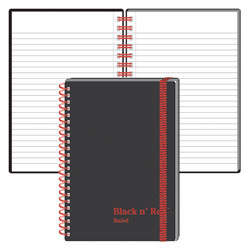 """Black n' Red™ Wirebound Notebook, 3 5/8"""" x 5 7/8"""", 1 Subject, Wide Ruled, 35 Sheets, Black/Red"""