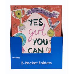 "Inkology 2-Pocket Portfolios, Vicky Yorke Girl Squad Glitter Covered, 9-1/2"" x 11-3/4"", Assorted Designs, Pack Of 24 Folders"