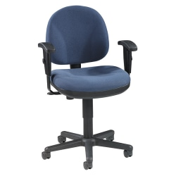 Lorell® Millenia Pneumatic Task Chair, Removeable Arms, Blue
